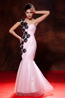 Terrific One Shoulder Trumpet/Mermaid Pink Quinceanera Dress With Black Appliques