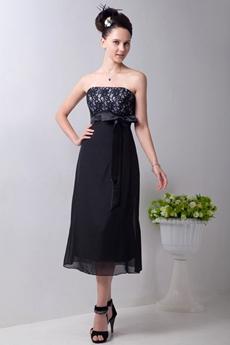 Modest Strapless Tea Length Black Chiffon Junior Bridesmaid Dress With Lace