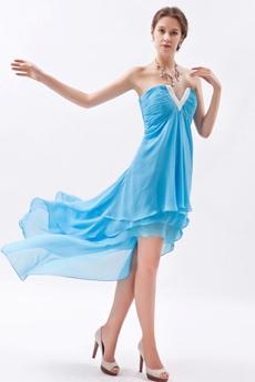 Cowl Neckline Blue Chiffon High Low Homecoming Dress