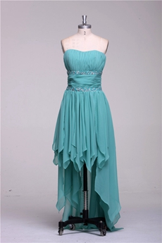 Sweetheart Jade Chiffon High Low Prom Dress With Beads
