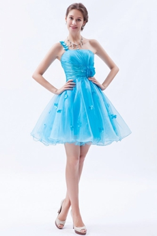 Lovely One Shoulder Puffy Mini Length Sweet Sixteen Dress