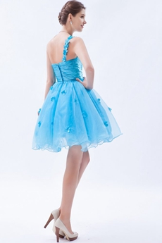 Lovely One Shoulder Puffy Mini Length Sweet Sixteen Dress