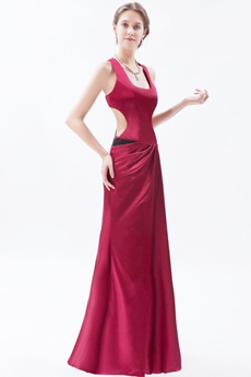 Scoop Column Full Length Red Evening Dress Side Slit