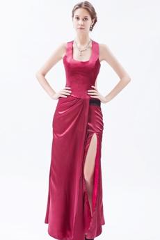 Scoop Column Full Length Red Evening Dress Side Slit