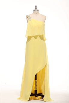 One Straps Yellow Chiffon High Low Graduation Dress For College