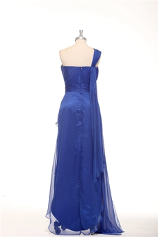One Shoulder Chiffon Royal Blue High Low Graduation Dress