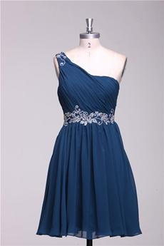 Cute One Shoulder Short Length Navy Blue Homecoming Dress