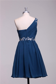 Cute One Shoulder Short Length Navy Blue Homecoming Dress