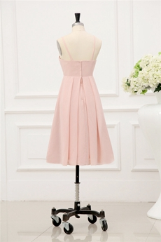 Terrific Peach Spaghetti Straps Summer Bridesmaid Dresses