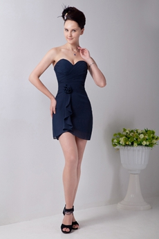 Inexpensive Mini Length Navy Blue Chiffon 8th Grade Graduation Dress