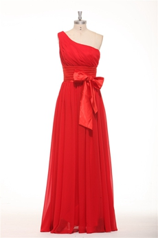 Cheap One Shoulder A-line Red Chiffon Bridesmaid Dress With Sash