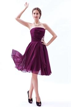 Simple Knee Length Grape Colored Junior Bridesmaid Dress