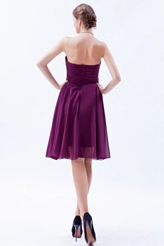 Simple Knee Length Grape Colored Junior Bridesmaid Dress