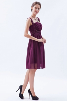 Double Straps A-line Knee Length Grape Colored Homecoming Dress