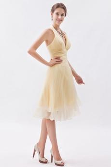 Modern Halter Knee Length Yellow Wedding Guest Dress