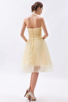 Modern Halter Knee Length Yellow Wedding Guest Dress