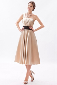 One Shoulder Tea Length Champagne Junior Prom Dress With Black Sash