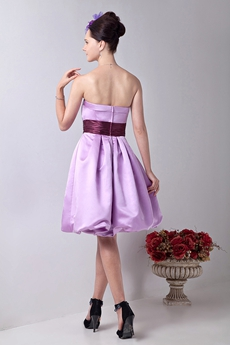 Mini Length Strapless Lilac Satin Junior Prom Gown