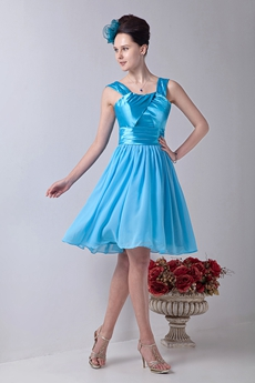 Adorable Straps A-line Knee Length Blue Chiffon Homecoming Dress