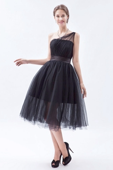 One Shoulder Puffy Tea Length Black Tulle Junior Prom Dress