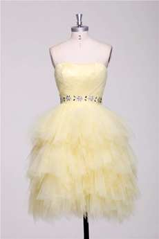 Pretty Multi Layered Pale Yellow Sweet Sixteen Dress Short Length