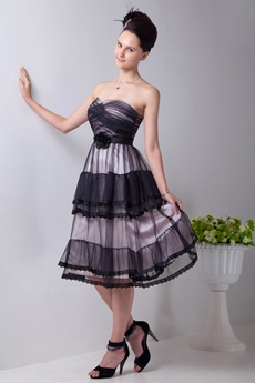 Affordable Tea Length Black & White Tulle Prom Dress For Juniors