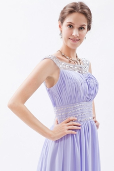 Scoop Neckline Column Full Length Chiffon Lavender Prom Dress With Rhinestones