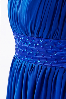 One Shoulder Chiffon Long Length Royal Blue Bridesmaid Dress