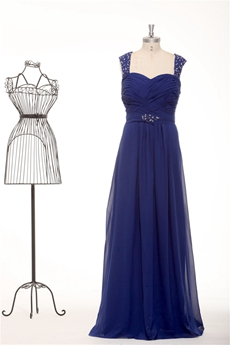 Double Straps Column Full Length Royal Blue Prom Dress