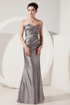 Glamour Sweetheart A-line Silver Grey Taffeta Mother Dress Corset Back