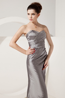 Glamour Sweetheart A-line Silver Grey Taffeta Mother Dress Corset Back