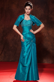 Modest A-line Taffeta Teal Colored Mother Of The Bride Dress With Jacket