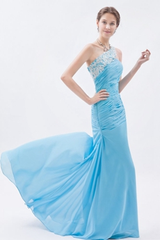 Special One Straps A-line Chiffon Full Length Blue Prom Gown