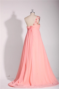 Grecian One Straps Empire Chiffon Pink Prom Dress For Maternity Women