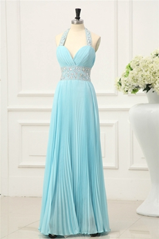 Elegant Pleated Blue Halter Evening Dresses