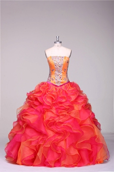 Pretty Ruffled Colorful Plus Size Quinceanera Dresses