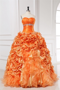 Luxury Orange Ruffled Quinceanera Gown Dress