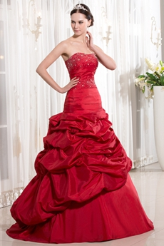 Latest Dipped Neckline A-line Floor Length Red Quinceanera Dresses Dropped Waist