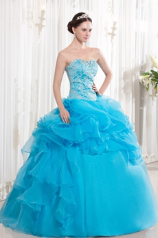 Newest Sweetheart Neckline Ball Gown Full Length Blue Embroidery Quincenera Dress