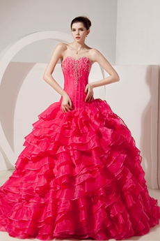 Exquisite Sweetheart Ball Gown Organza Hot Pink Quinceanera Dress Corset Back