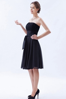 Knee Length Strapless Neckline Black Chiffon Homecoming Dress
