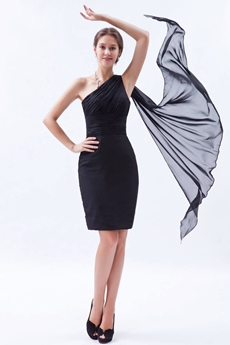 One Straps Sheath Mini Length Black Chiffon Wedding Guest Dress With Ribbon