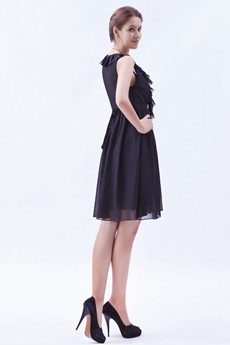 V-Neckline Mini Length Black Chiffon Homecoming Dress