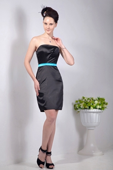 Sheath Mini Length Satin Little Black Dress