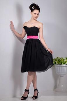 Dipped Neckline Knee Length Black Chiffon Graduation Dress With Fuhchsia Sash