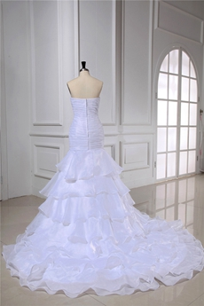 Chic Strapless Organza Mermaid Wedding Dresses 2016 with Long Train