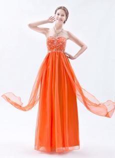 Pretty Sweetheart Column Orange Chiffon Prom Dress With Embroidery