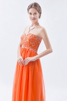 Pretty Sweetheart Column Orange Chiffon Prom Dress With Embroidery
