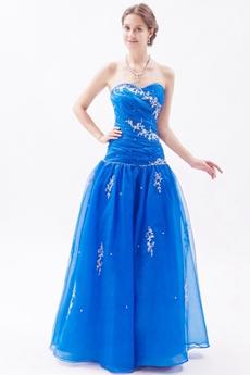 Sweetheart Organza Full Length Royal Blue Princess Quince Dress