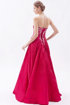 lace Up Back Magenta Satin Prom Dress With Great Handwork